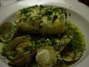 Fish deli Whiting in Green Sauce with roasted clams